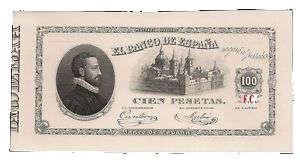 billete de 100 pesetas del año 1874