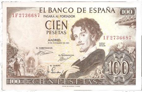 billete de 100 pesetas 1965 becquer