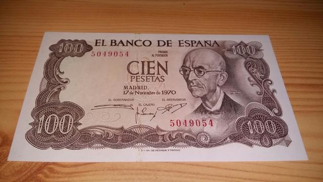 billete de 100 pesetas de 1970 con la imagen de manuel de falla