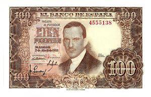 billete de 100 pesetas del año 1953 con la imagen de julio romero de torres